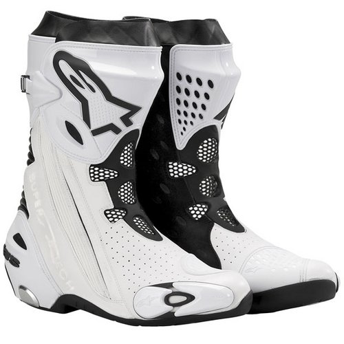 alpinestars supertech r vented boots white black. Black Bedroom Furniture Sets. Home Design Ideas