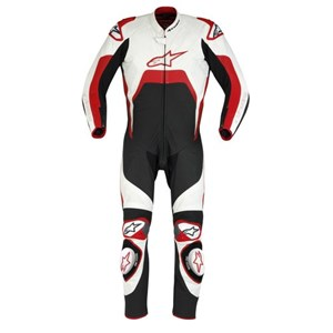 Alpinestars Tech 1-R One-Piece Leather Suit - Black / White / Red