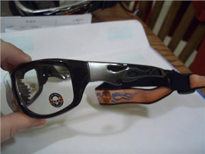 Black/Gray Clear Flamed Shades with Foam and Goggle Strap