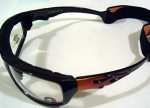 Black/Red Clear Flamed Shades with Foam and Goggle Strap