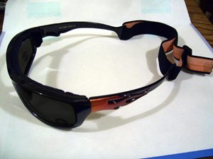 Black/Red Flamed Shades with Foam and Goggle Strap