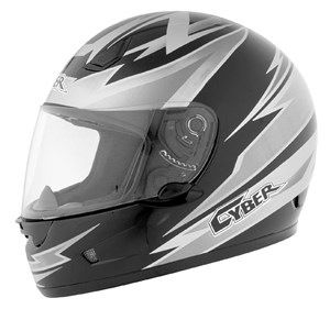 Cyber US-12 Full Face Helmet - Amp Black / Silver / White