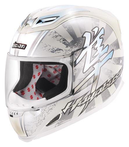 Carbon Fiber Motorcycle Helmets >> Icon Airframe Suzuki Hayabusa Full Face Helmet - White / Chrome