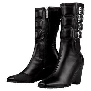 Icon Bombshell Leather Boots - Black