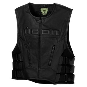Icon Regulator Leather Motorcycle Vest - Stealth