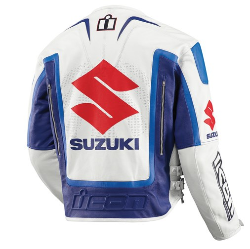 Icon Victory Suzuki Leather Jacket - Blue