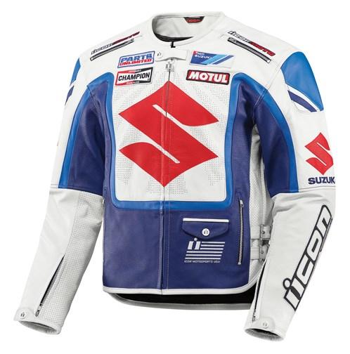 Icon Victory Suzuki Leather Jacket - Blue