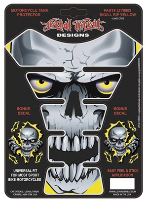 Lethal Threat Tank Protector - Skull Rip-Yellow