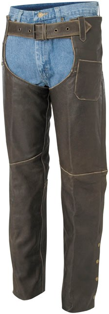 River Road Distressed Ladies Vintage Leather Chaps