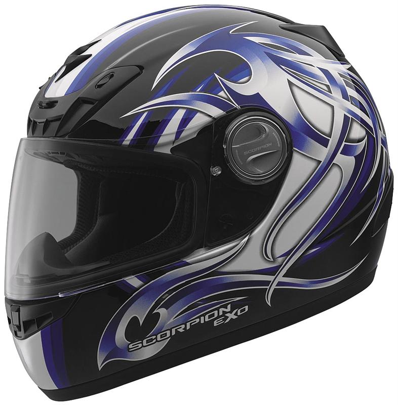 Scorpion Exo 400 Tribal Full Face Helmet Blue