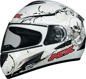 AFX FX-100 Full Face Motorcycle Helmet - Skull White