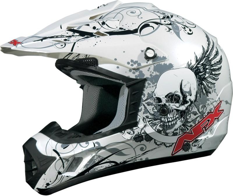 Afx Fx 17 Off Road Motorcycle Helmet White Skull