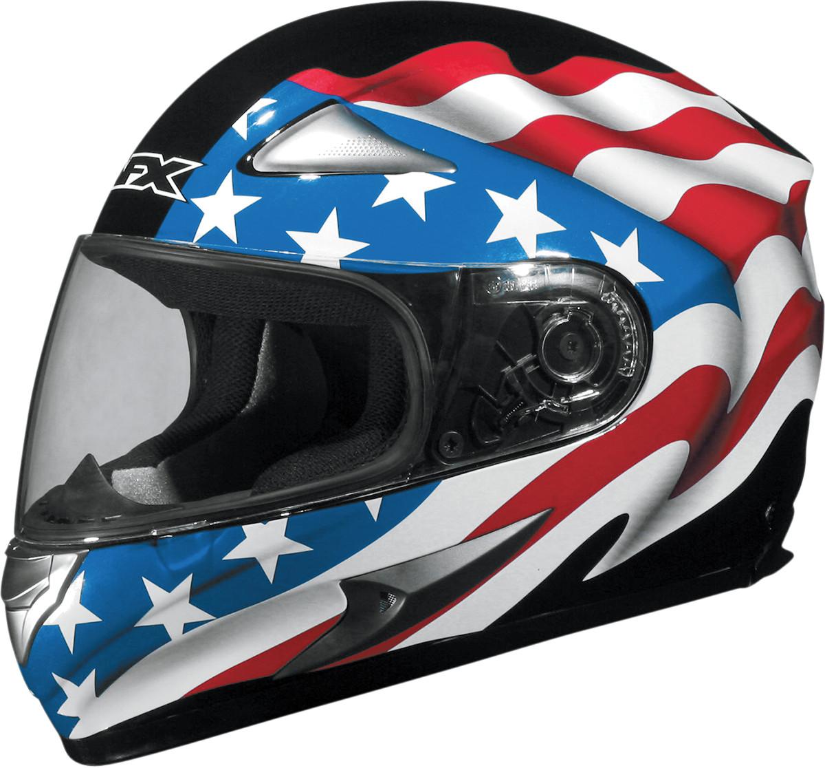 Afx Fx Flag Full Face Motorcycle Helmet Black on S Shell Size Chart