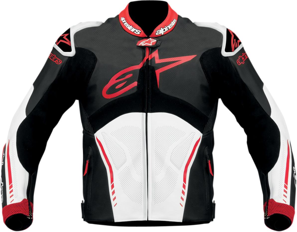 Alpinestars Motorcycle Jacket >> Alpinestars Atem Leather Motorcycle Jacket - Black / White / Red