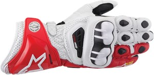 Alpinestars GP Pro Leather Motorcycle Glove - White / Red / Black