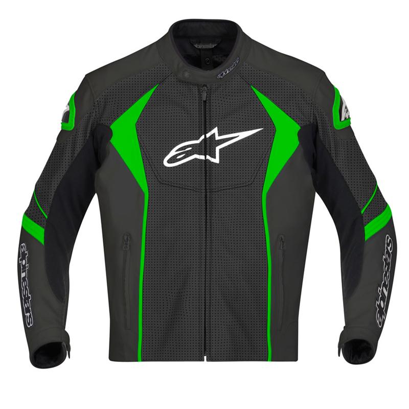 Alpinestars Gp R Perforated Leather Jacket Black Green