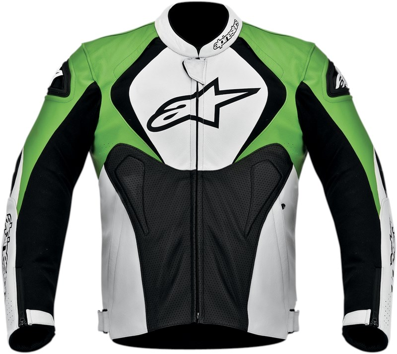 Alpine Motorcycle Gear >> Alpinestars Jaws Perforated Leather Motorcycle Jacket - Black / White / Green