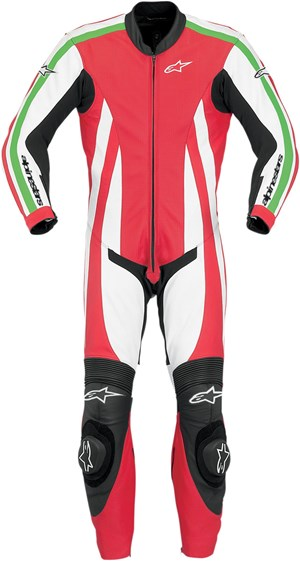 Alpinestars Monza One-Piece Leather Race Suit - Red / White / Green