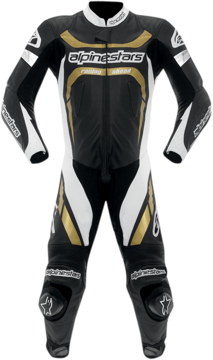 Alpine Motorcycle Gear >> Alpinestars Motegi One-Piece Leather Motorcycle Race Suit - Black / White / Gold