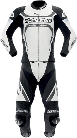 Alpinestars Motegi Two-Piece Leather Motorcycle Race Suit - White / Black