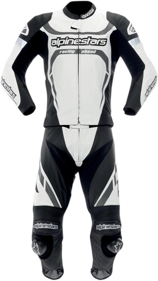 Alpine Motorcycle Gear >> Alpinestars Motegi Two-Piece Leather Motorcycle Race Suit - White / Black