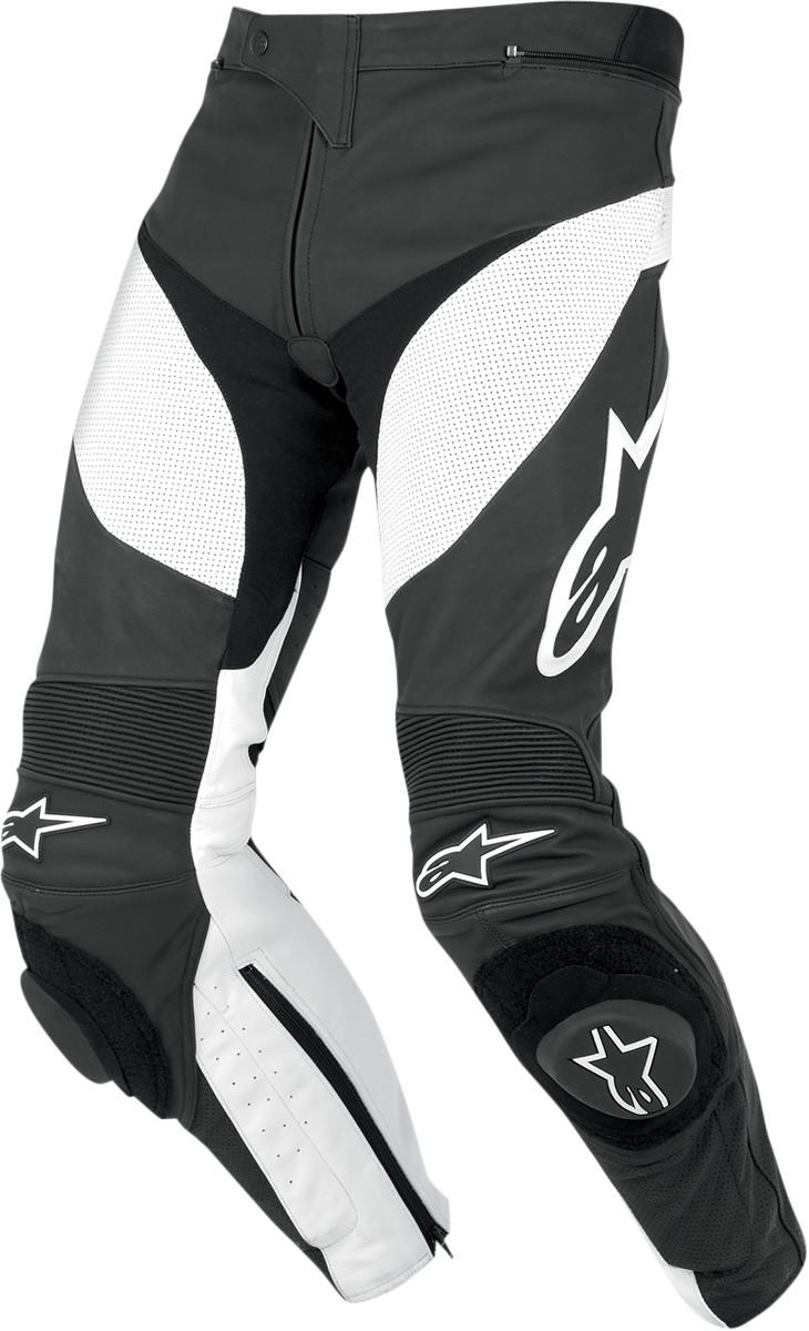 Alpinestars Track Leather Motorcycle Pants Black White