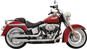 "Bassani Firepower Straightcut 3"" Slip On Mufflers w/ Black End Cap - Harley Davidson Softail (07-12)"