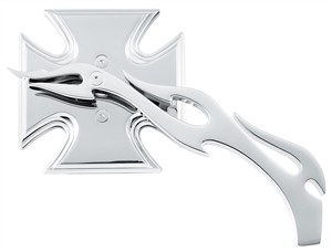 Biker's Choice Maltese Cross Mirrors With Flame Stem