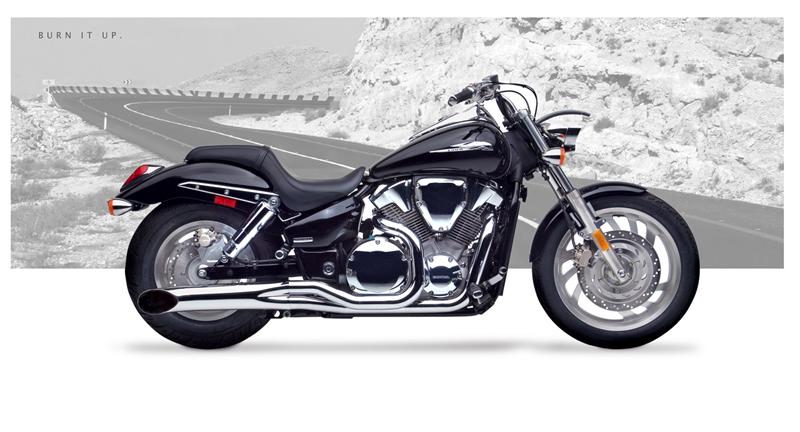 Hard Krome 2-into-1 Side Burners Exhaust - Honda VTX1300C ...