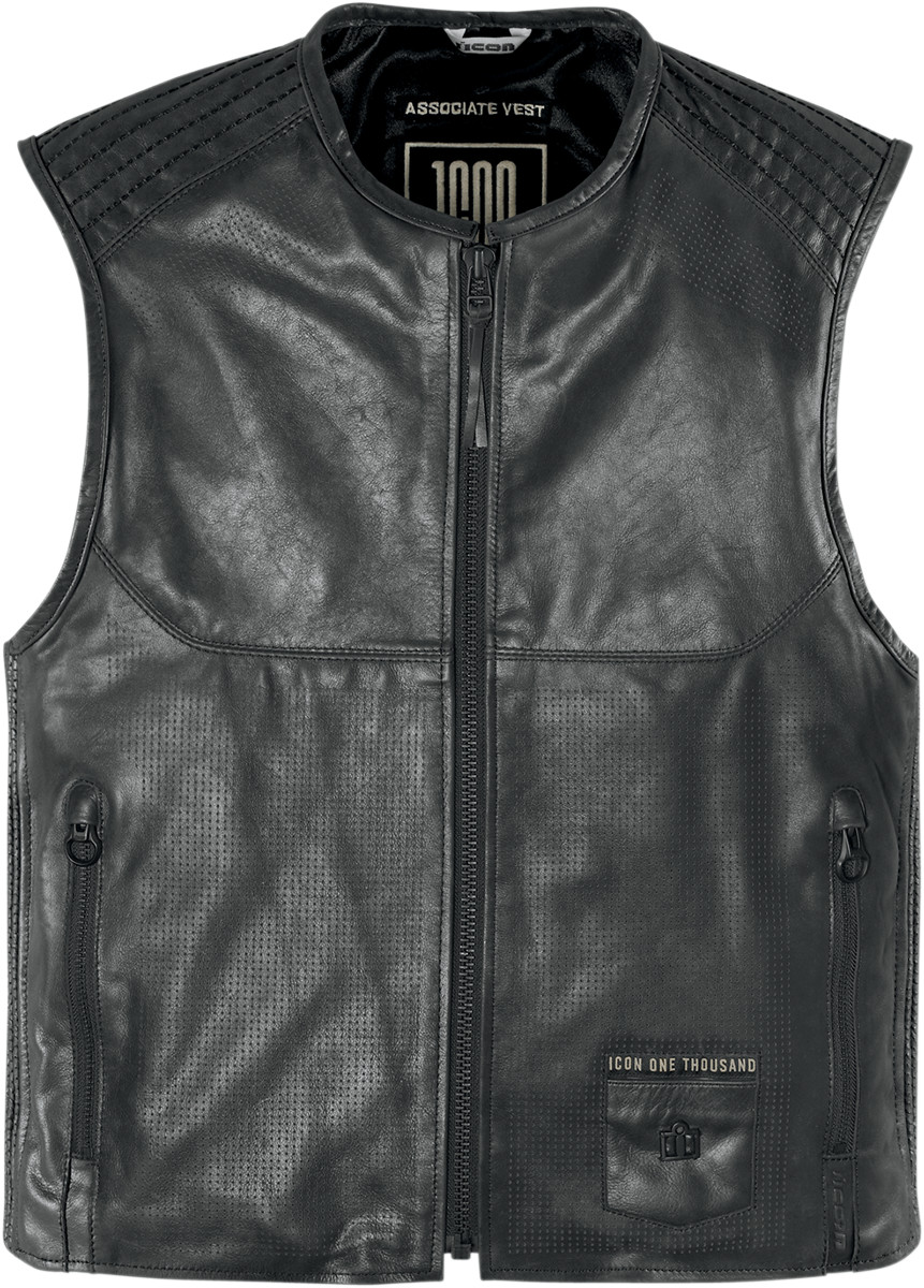 Icon 1000 Associate Leather Motorcycle Vest