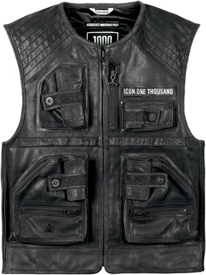 Icon 1000 Associate Warchild Limited Edition Leather Motorcycle Vest