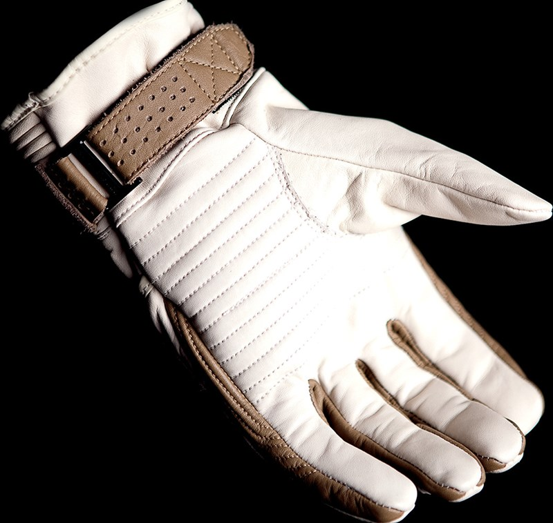 Icon 1000 Beltway Leather Motorcycle Gloves Bone White