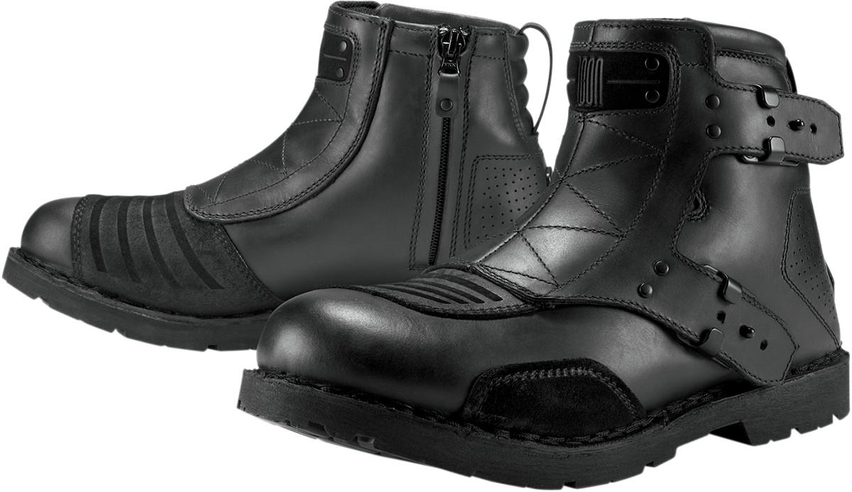 icon 1000 el bajo leather motorcycle boots black