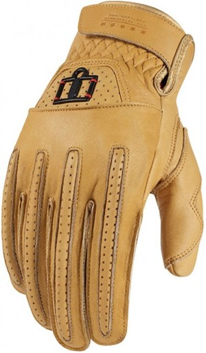 Icon 1000 Rimfire Leather Motorcycle Glove - Tan