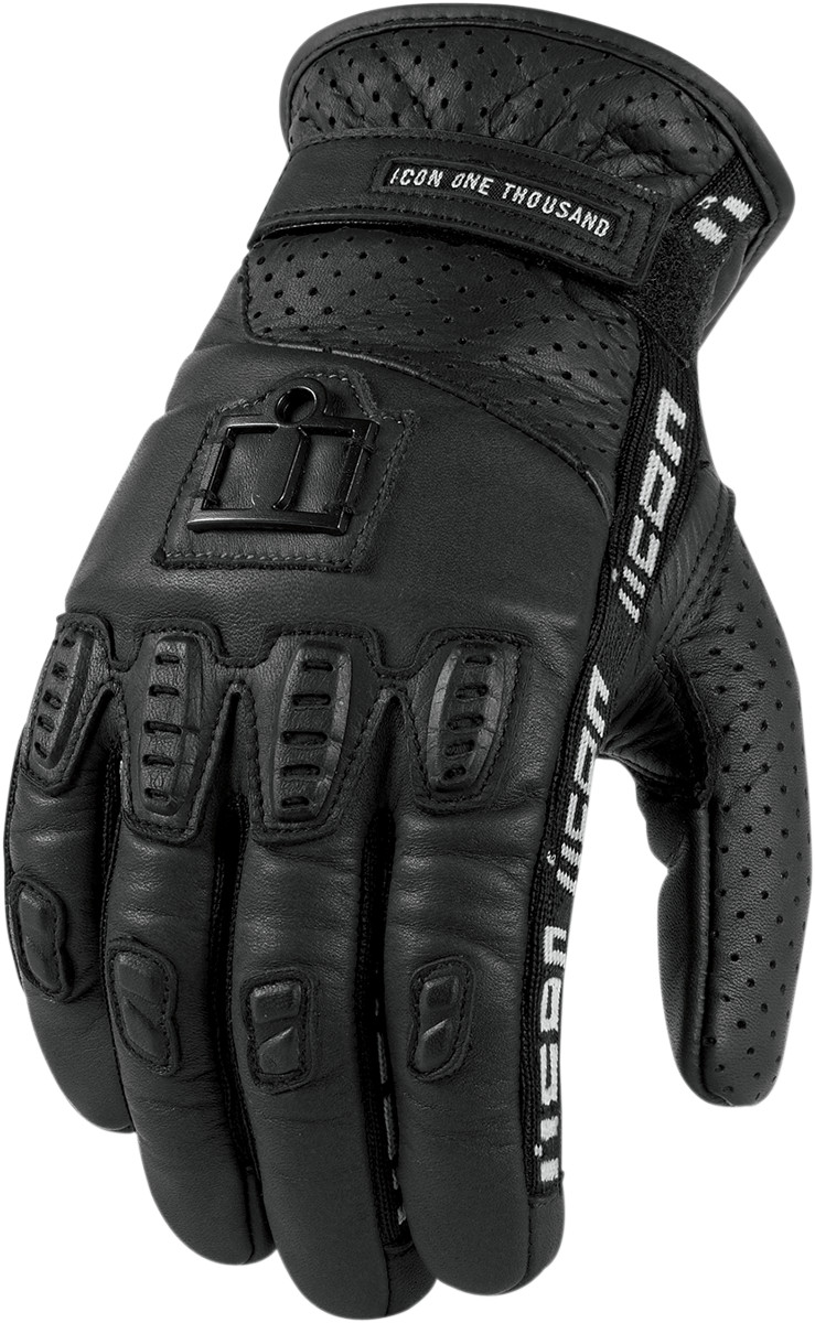 Icon 1000 Turnbuckle Leather Motorcycle Glove Black