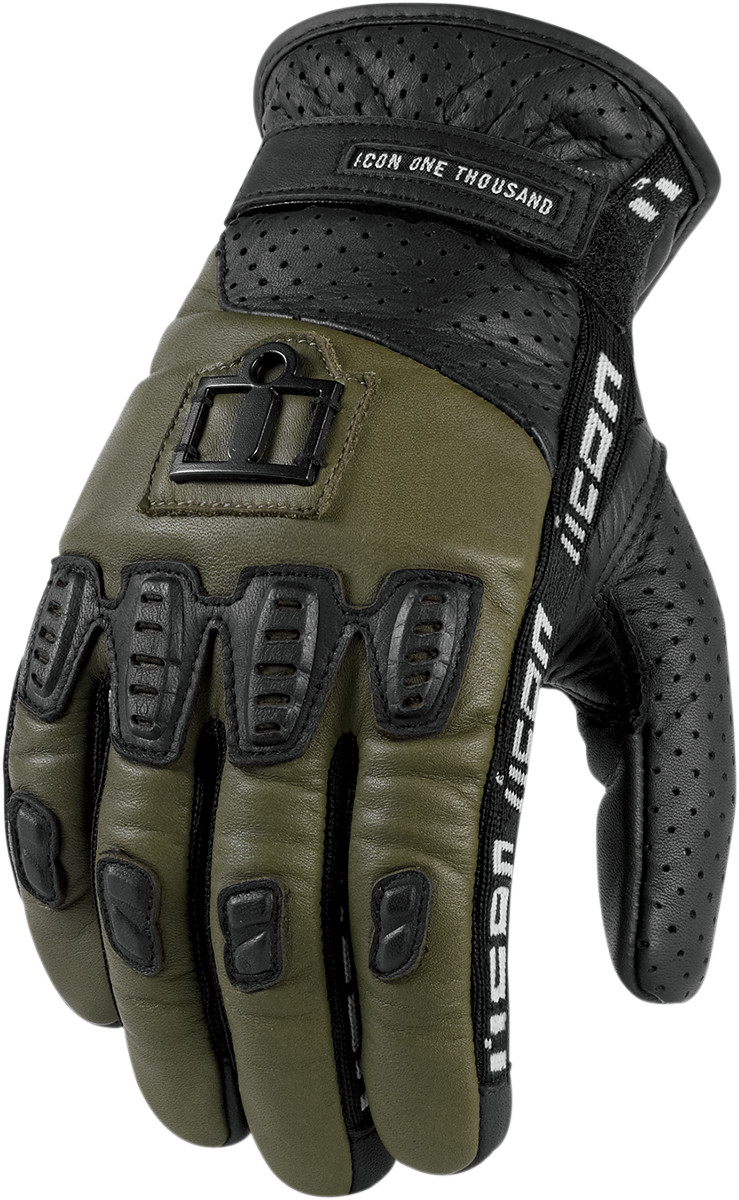 Icon 1000 Turnbuckle Leather Motorcycle Glove Green