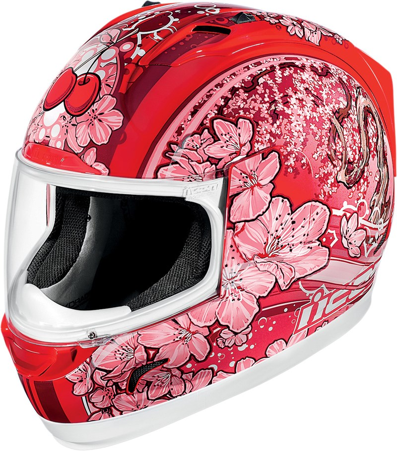 Icon Alliance Cherry Pop Full Face Motorcycle Helmet Red