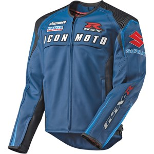 Icon Automag Suzuki Leather Jacket - Blue