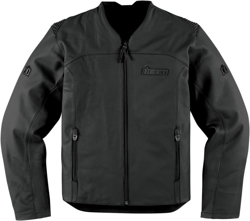 Icon Device Leather Jacket Stealth Black