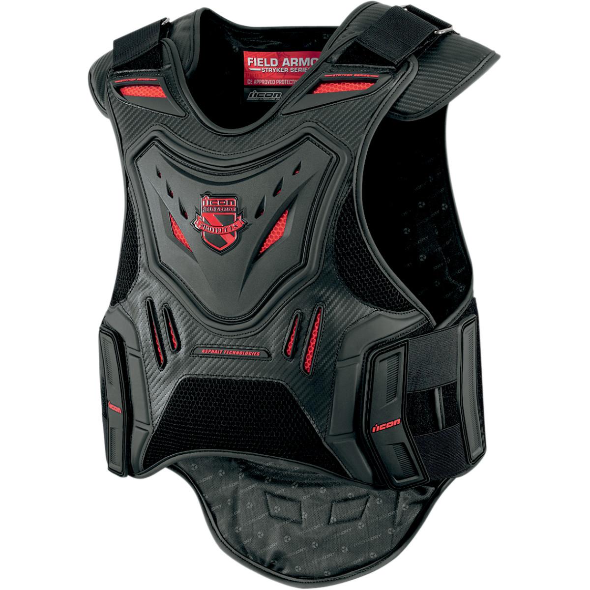 Icon Stryker Field Armor Motorcycle Vest Black Red