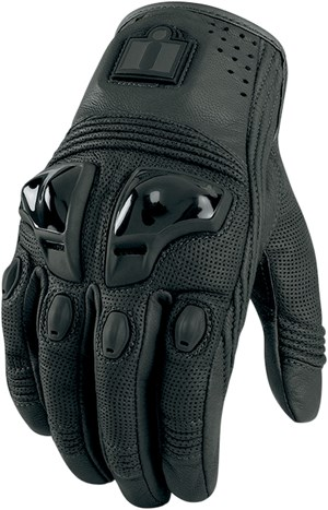 Icon Justice Leather Motorcycle Gloves - Black