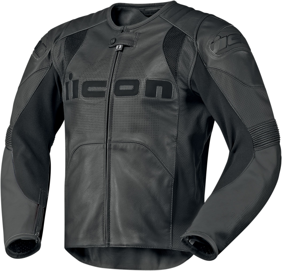 Icon Overlord Prime Leather Jacket Stealth