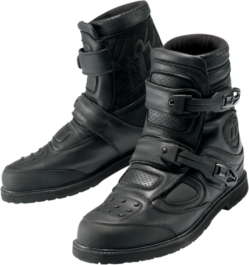 Icon Patrol Waterproof Motorcycle Riding Boots - Black