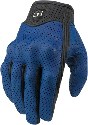 Icon Pursuit Leather Motorcycle Riding Gloves - Blue