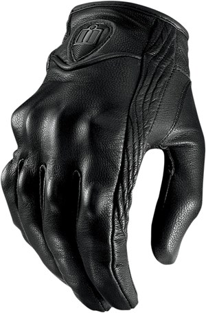 Icon Pursuit Leather Motorcycle Riding Gloves - Stealth