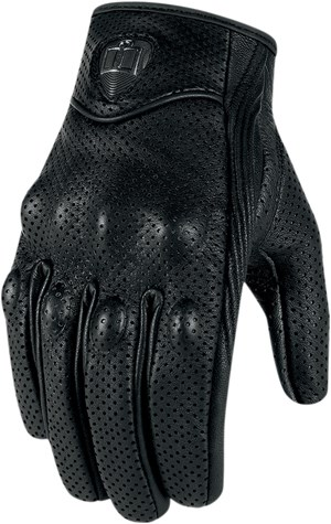 Icon Pursuit Leather Touchscreen Motorcycle Gloves - Black