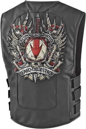 Icon Search & Destroy Regulator Leather Motorcycle Vest