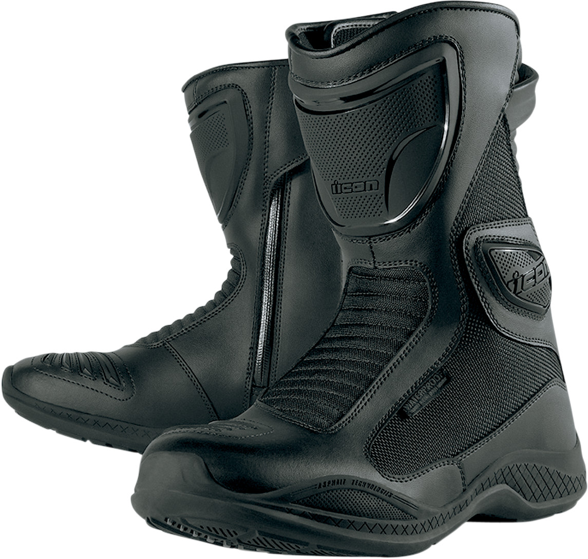 Icon Reign Waterproof Motorcycle Boot Black