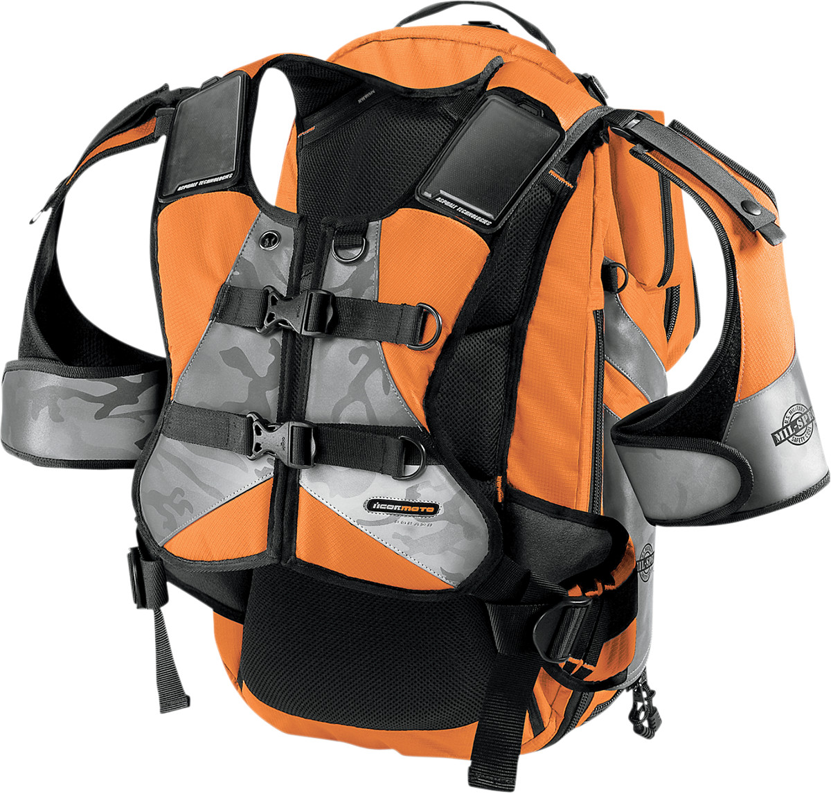 Icon Squad II Mil-Spec Motorcycle Riding Backpack - Orange
