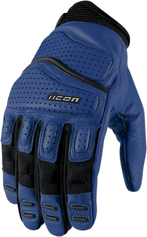 Icon Super Duty 2 Leather Motorcycle Gloves Blue